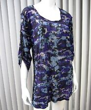 ERGE DESIGNS LONG SLEEVE SHEER BLOUSE SIZE L Large MULTICOLORED