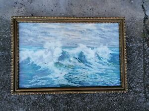 Gemälde Meeresbrandung Wellen signiert Benesch um 1900