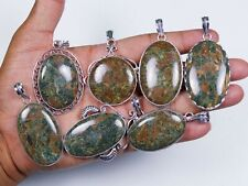 Hot Sale !! Natural 25 PCs Indian Seraphinite Gemstone Silver Plated Pendant