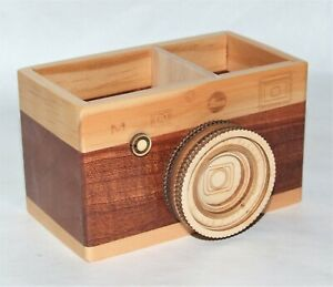 Wooden Camera Pencil Holder Home Office Makeup Organizer Storage Gift