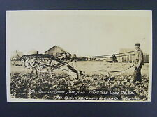 Grasshopper Exaggeration Plow Garden City Kansas Real Photo Postcard RPPC 1937