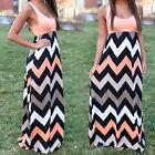 Boho Womens Long Maxi Dress Striped Summer Holiday Casual Party Beach Sundress