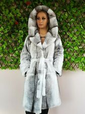 REAL  MINK FUR COAT JACKET BLACK WHITE MEXA NERZMANTEL FOX SABLE CHINCHILLA 320