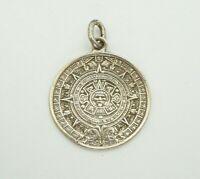 Vintage Mexico Sterling Silver 925 Aztec Mayan Circle Medallion Pendant