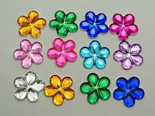 200 Mixed Color Acrylic Flatback Flower Rhinestone Gem 15mm DIY Embellishments