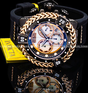 Invicta BOLT HERCULES RESERVE SWISS Chrono MOP Dial Rose Gold Black Men Watch