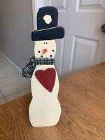 "Vintage Wood Snowman 10.5"" Holiday Christmas Table Decor"