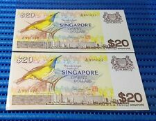 2X Singapore Bird Series $20 Note A/65 991022 - 991023 Run Dollar Note Currency