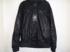 "Biker Moto Jacket LARGE chest 42"" M-L BLACK LEATHER  Heavy Winter Italian"