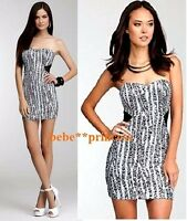 NWT bebe XS S M L white black sequin strapless cutout mesh bustier top dress