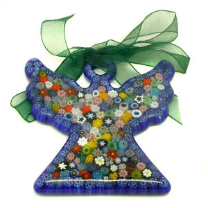 Murano Glass Art Angel Christmas Xmas Decoration Blue Multi-Coloured Millefiori