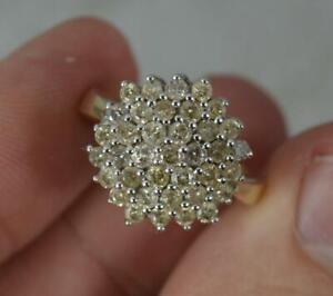 Bling 0.85ct Diamond 9 Carat Gold Cluster Ring