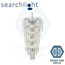 1313-13CC SEARCHLIGHT WATERFALL 13 LIGHT CHROME CHANDELIER WITH CRYSTAL BUTTONS