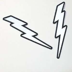 Reflective Lightning Bolt Silver Biker Patch Iron-On/Sew-On Embroidered Applique