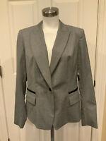 """Lafayette 148 New York """"Nickel"""" Gray & Black Blazer, Size 12, NWT! $648"""