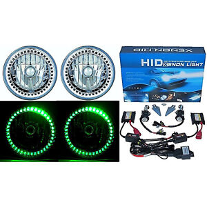 "7"" HID Green LED Halo Ring Angel Eyes Headlight 6000K 6K Light Lamp Bulbs Pair"
