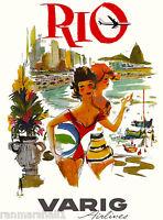 Rio de Janeiro Brazil Varig3 South America Vintage Travel Poster Advertisement