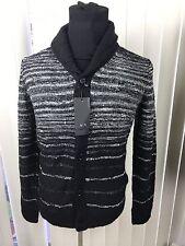 Armani Exchange Men's Black Striped Cardigan Sweater Medium NWT $120