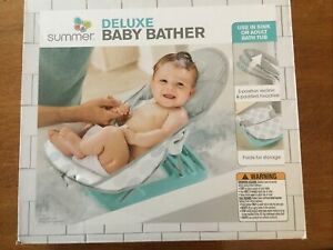 Summer Deluxe Baby Bather Infant Bath Tub Blue & Gray Adjustable Padded Folding
