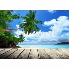 5x7FT Seaside Plam Blue Sky Backdrop Studio Photography Prop Photo Background
