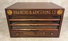 Antique Brainerd & Armstrong Wood Spool Cabinet 4 Drawers Glass Brass & Wood Gr