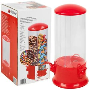 Kids Triple Candy Machine Dispenser Sweet Jar 3 Rotating Sections Nuts Snacks
