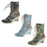 Damen Stiefeletten Keil Absatz Stiefel Wedges Schuhe Batik-Look Muster variieren