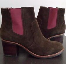 Sperry Women's Top-Sider Marlow Brown Suede Ankle Boot Pink Elastic Size 7