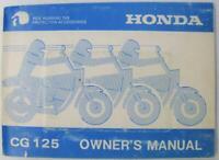 Honda CG125 1990 #MPKE2861I A20008610 Motorcycle Owners Handbook
