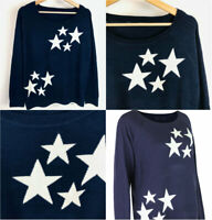 Womens Ladies Navy Blue Ivory Star Pattern Cosy Knit Jumper Size 6-26