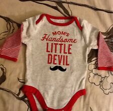 Mom's Handsome Little Devil Shirt From Old Navy Size 0-3 Months Long Sleeve Red