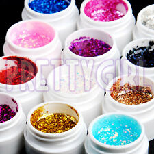 12 Color Big Glitter Shimmer UV Builder Gel Nail Art Deco Set Tips Polish UK