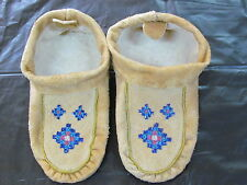 NATIVE AMERICAN HOME TANNED MOOSE HIDE MOCCASSIN, GORGEOUS DESIGN 10 INCHES LONG