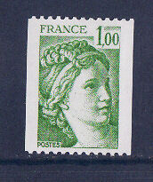 timbre France n° rouge  Sabine 1f  vert  1981Aa **