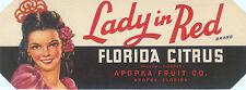 CRATE LABEL VINTAGE FLORIDA 1930S STRIP ORIGINAL LADY IN RED APOPKA SENORITA