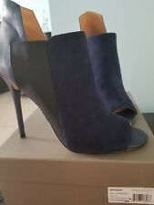 NEW HALSTON HERITAGE WOMENS MADISON LEATHER SUEDE COMBINED SHOETIE - BLUE