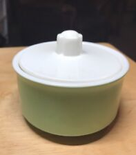 vintage  50's Or 60's Green & White Covered Sugar Bowl