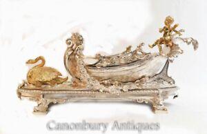 George II Silver Plate Centrepiece Cherub Swan Boat