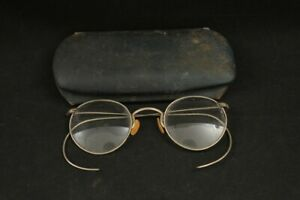 Vintage 1930's 1940's German Wire Cable Temple Round Eyeglasses & Hard Case