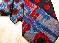 Oscar De La Renta Tie Mens Abstract Silk Necktie Couture Geometric Black Blue