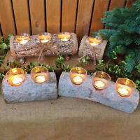 Rustic Natural Wood Log Tealight Votive Candle Holders Christmas Winter Wedding