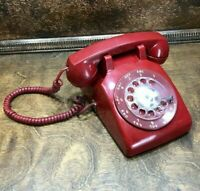 31766 Vintage Western Electric RED Rotary Dial Desk Phone Telephone AT&T 500DM