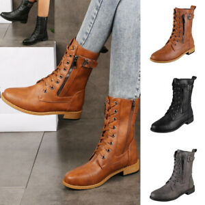 LADIES WOMENS MILITARY BOOTS ARMY COMBAT ANKLE LACE UP FLAT BIKER ZIP SHOES SIZE