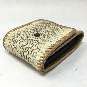 NEW Mens Handmade Trifold Wallet Check Card Holder Coin Pocket Beige Snakeskin