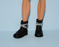 Black Boots Shoes w/ Silver Belt & Buckle Accents for KEN Genuine BARBIE