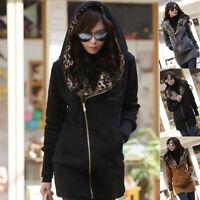 Womens Casual Leopard Long Sleeve Jacket Zipper Outwear Hoodie Sweatshirt Coat