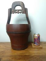 CHARMING! Primitive Wooden Well Bucket with CARVED HANDLE! Antique Iron Eastlake