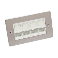 Cat 6 RJ45 Angled Wall Plate Double Gang Brushed Chrome Flat Plate White Cat 6