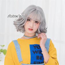 35cm Bob Lolita Short Gray Daily Cosplay Curly Thin Bang Hair Wig Heat Resistant