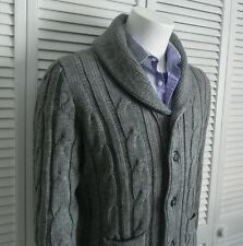 NEW Mens SZ 2XL ALPACA Light Gray Shawl Collar Knit Cable Cardigan Sweater PERU